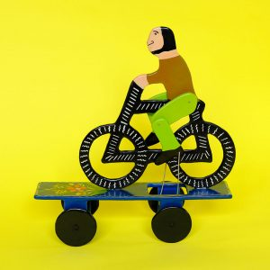 メキシコ伝統玩具 オリナラ テマラカツィンゴ 塗り物 自転車マン