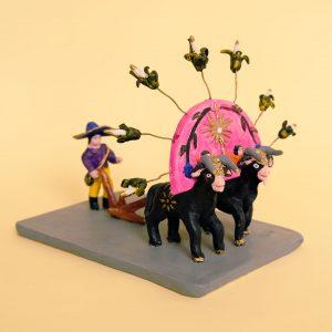 メテペック 土人形 二頭立ての牛と種まく人