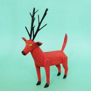 オアハカ ウッドカービング キリーノサンティアーゴ 鹿 置物 木彫