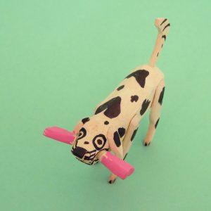 オアハカ ウッドカービング マルティンサンティアーゴ 骨をくわえた犬 置物