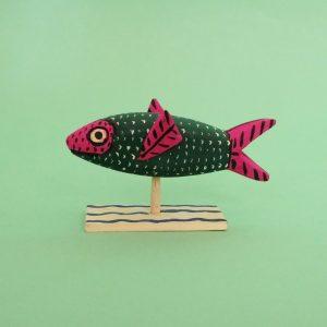 オアハカ ウッドカービング マルティンサンティアーゴ 魚 置物